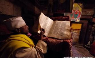 Mnich w klasztorze Debre Damo