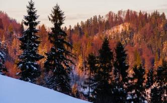 zima w Gorcach jeszcze w kolorach  jesieni