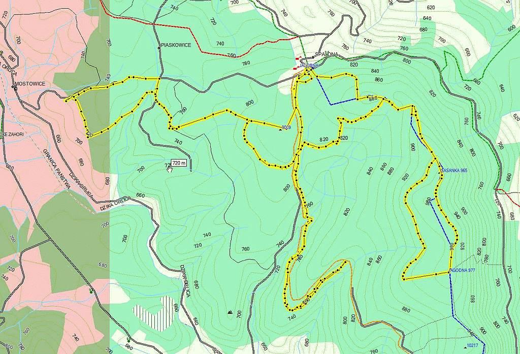 mapa tras narciarskich Góry Bystrzyckie Jagodna