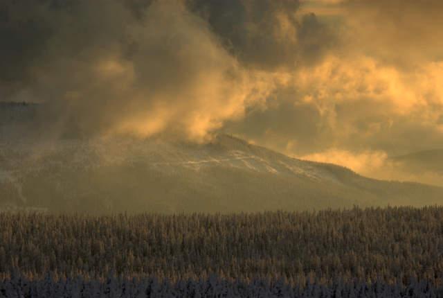 Karkonosze o zachodzie słońca