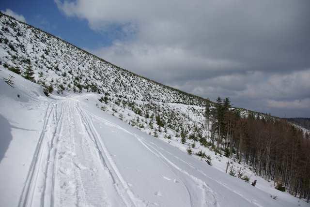 ślad narciarski z Wisły do Szczyrku na Skrzyczne