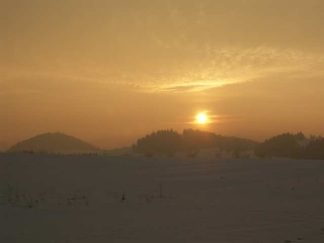 Zachód słońca, trasy biegowe Nowy Targ