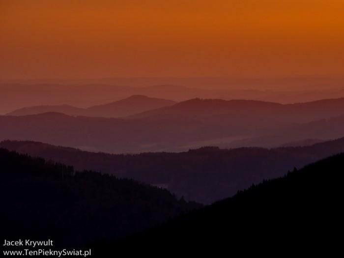 zachód słońca w Jesenikach
