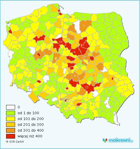 Geograficzny podział nazwisk w Polsce