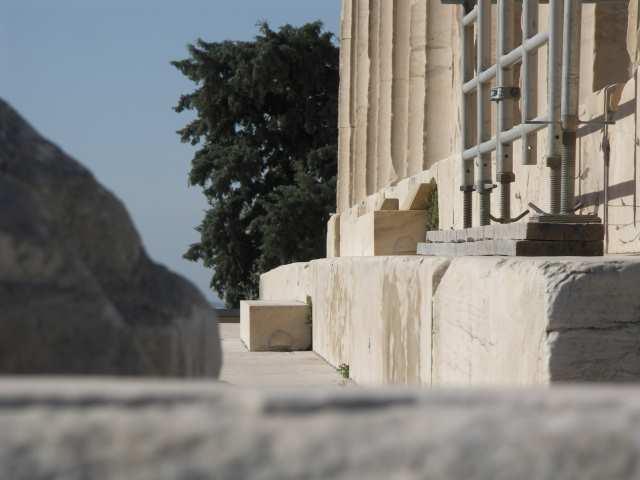 Partenon, Ateny, zniwelowanie zakrzywienia wywoływanego perspektywą