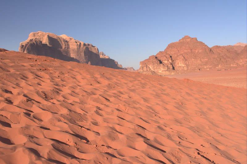 Wydmy, pustynia Wadi Rum
