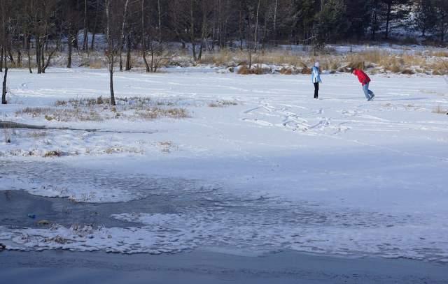 Zalew Kostkowice, łyżwy, jazda na łyżwach