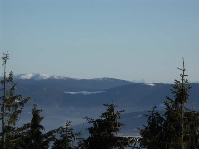 Barania Góra - widok na Pilsko, Rysiankę, Romanke, Halę Palusią, Tatry